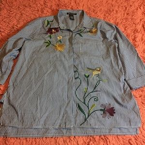 Sweet embroidered gingham shirt